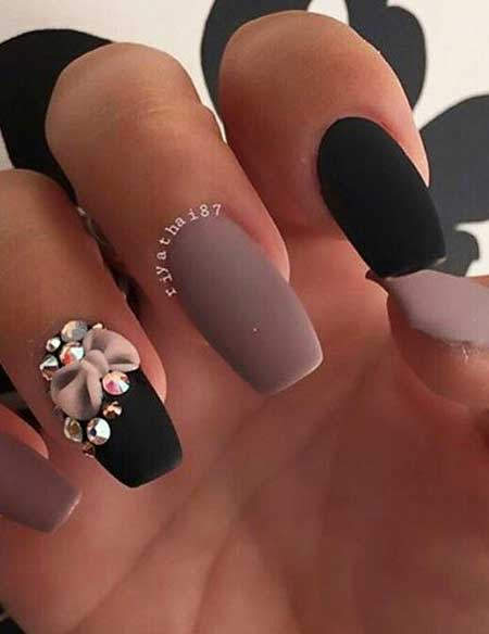 14 best nail designs with rhinestones nail art designs 2017 matte nail simple nails nail art designs black nails with rhinestones prinsesfo Images