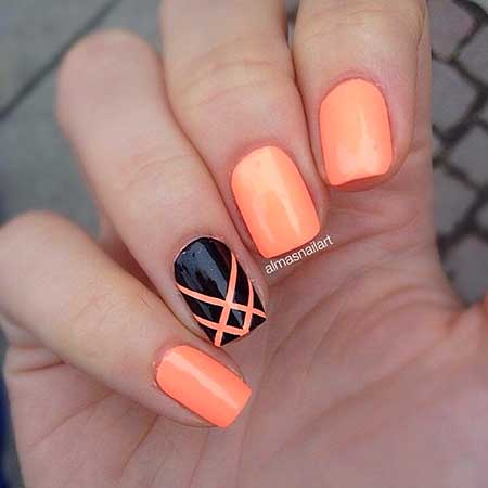 Summer Nails, Accent Nail, Orange Nails, Coral Nail