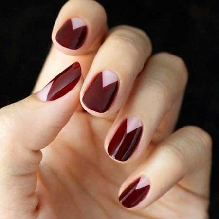 Fall Nails, Space Nails, Negative Space Nails, Burgundy Nail, Moon Nails, Manicures