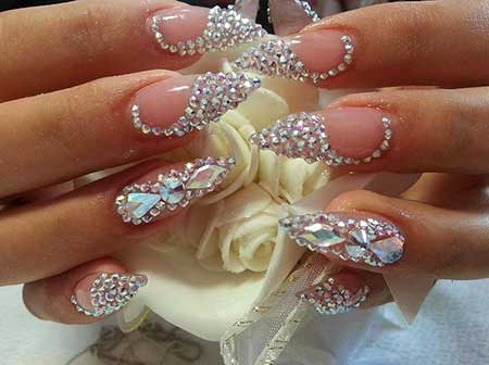 Stiletto Nails with Rhinestones