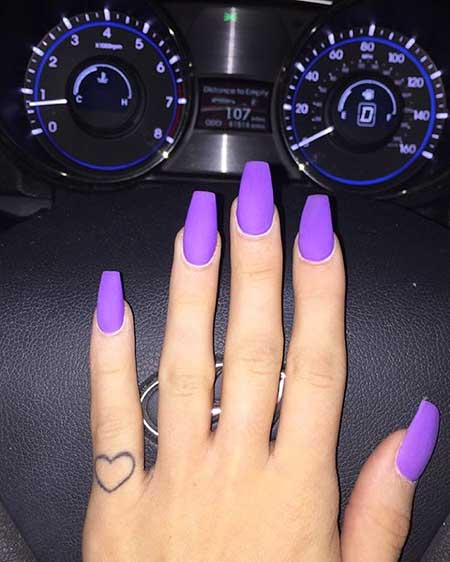 Purple Nail, Purple, Pink, Nail Polish, Purple Matte Acrylic Nails, 2017