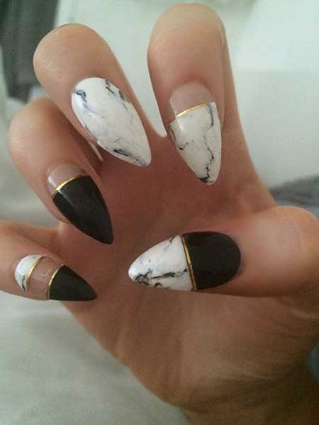 Stiletto Nails, Gel Nails, White Nail, Black and White Nails