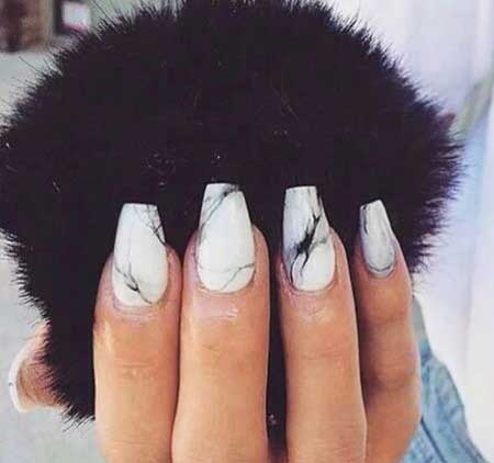Manicures, Coffin Nails, White Nail, Black and White Marble Nails
