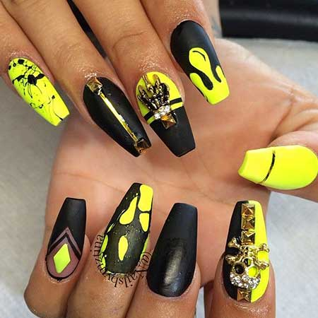 23 New Yellow Nail Designs – Nail Art Designs 2017