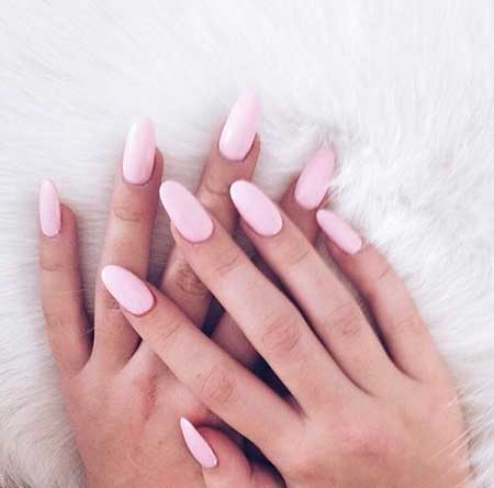 Pink Nails, Oval Nails, Almond Nails, Pink, Makeup Nails, Stiletto Nails