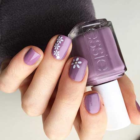 Polish, Pink, Purple Nail, Manicures, Simple, Flower, White, Spring