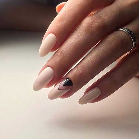 White Nail, Manicures, Beige Nails, Long, Oval, Beige, Black