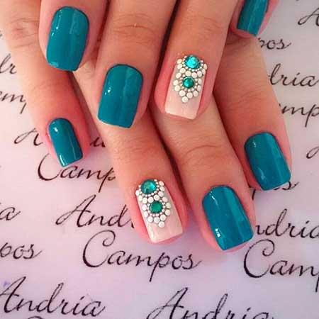 Sea Nails, Gel Nails, Nails Nailart, Nails Decorated With Jewels, Night