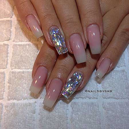 Wedding Nails, Coffin Nails, Beauty Nails, French Manicure, Long, Square, Soft, Glitter