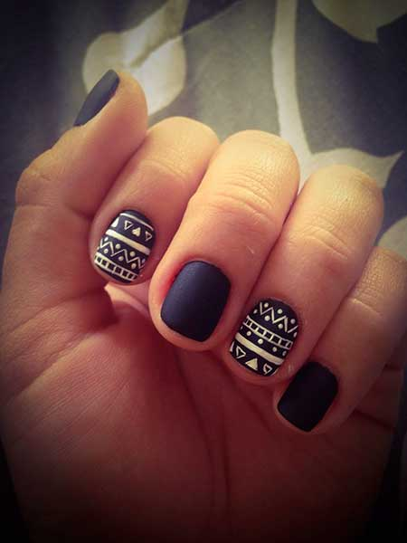 Cross Nail, Gold Nail, White Nail, Tribal Nail, Matte Black Almond Nails