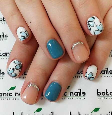 Manicures, , Cute Winter Nail Designs, Simple, Floral, Winter, Ideas