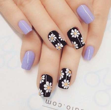 Daisy Nails, Matte Nail, Flower Nail, Easy, Fresh, Girls, Love