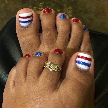 Toe Nail, July Nails, 4Th, July, 4Th Of July, 4Th Of July Nail Art Design