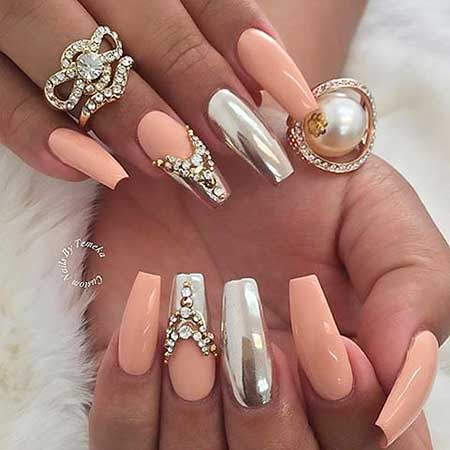 Coffin Nails, Nude Nails, Stiletto Nails, Coffin Nails With Rhinestones