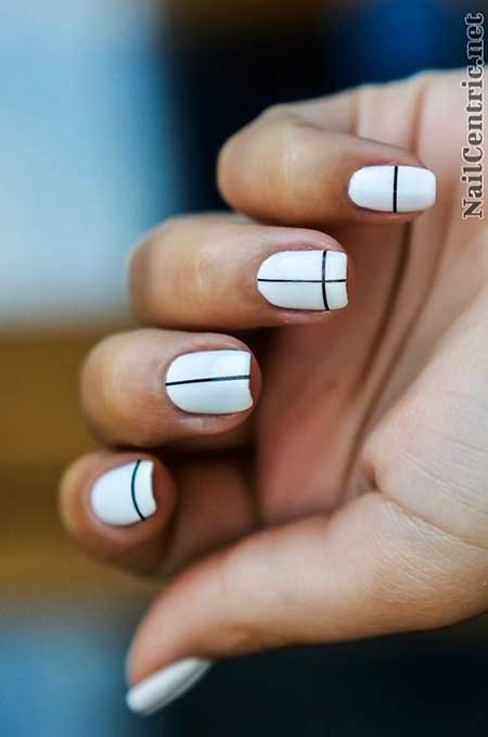 White Nail, Manicures, Simple Nail Art, Minimalist, Single, Striped, Black