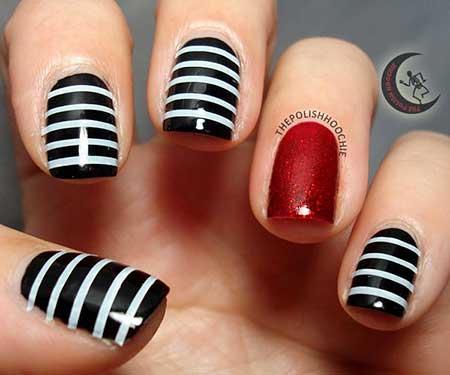 Black Nail, Striped Nail, Accent Nail, Halloween Nails