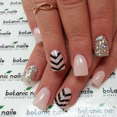 Chevron Nail, Pink Nails, Pretty Nail, Botanic Nails, White Nail