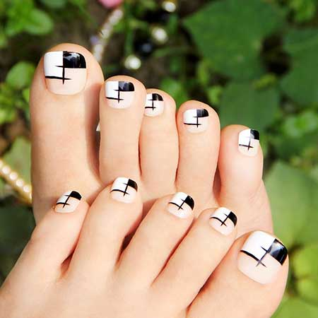 French Manicure, Bow Ties, Toe Nail, Black Bow
