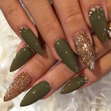 Stiletto Nails, Coffin Nails, Stilettos, Olive Green and Gold Nails