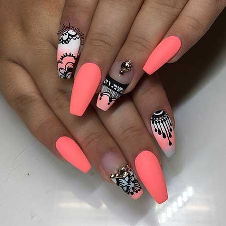 Summer Nails, Coffin Nails, Stiletto Nails, Neon Nail, Ongle En Gel Ete 2017