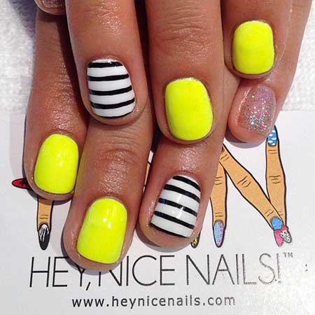 Summer Nails, Neon, Neon Nail, Yellow Nails, Yellow, Summer Gel Nail Designs