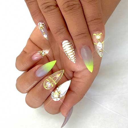 Stiletto Nails, Gold, Pretty Nail, Nail Art Summer 2017