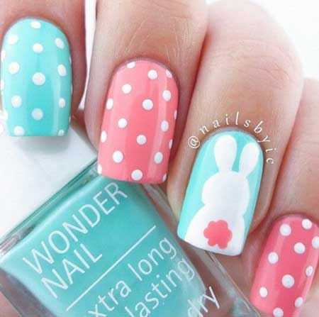 Polka Dots, Dots, Easter Nails, Pink Dot, Polish, Easy Easter Nail Designs