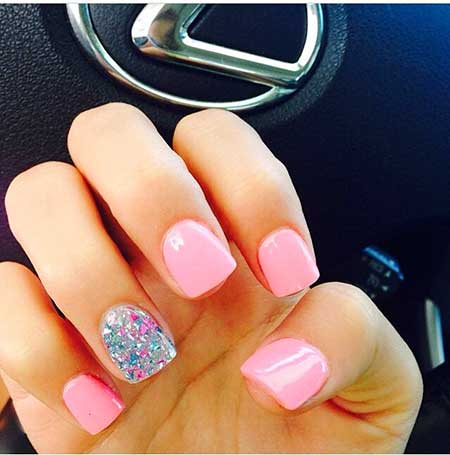 Pink Nails, Pink, Pretty Nail, Accent Nail, Summer Nails