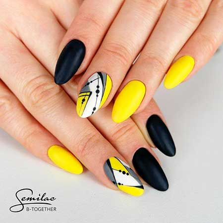 Yellow Nails, Stiletto Nails, Yellow, Summer Nails, Semilac Top Mat Total, Simple