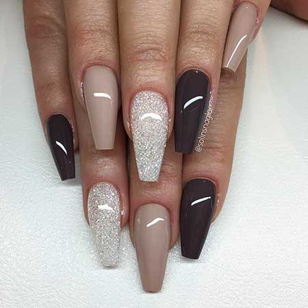 Coffin Nails, Solinsnaglar, Nails Kortenstein, Acrylic Nails, Glitter