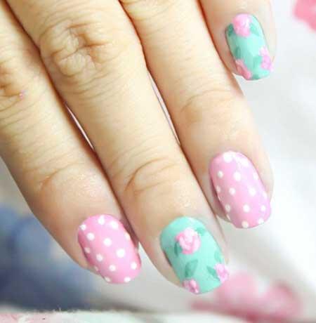 Polka Dots, Dots, Floral Nail, Spring Nails, Spring Nail Designs Easy, Easy