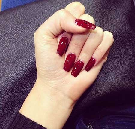 Red, Red Nails, Burgundy Nail, Manicures, Shellac, Square Gel Nails, Red