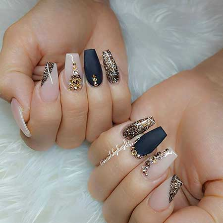 Beauty Nails, Pretty Nail, Coffin Nails, , Black Oval Matte Nails