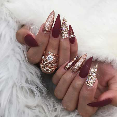Stiletto Nails, Rhinestone Nails, Burgundy and Silver Nails