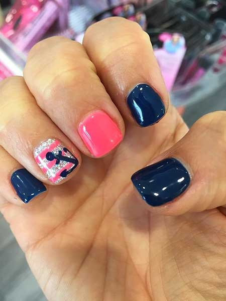 Pink, Purple, Gel Nails, Purple Nail, Glitter, Summer Gel Nail Designs, Short