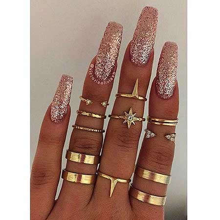 Jewelry, Nailing, Coffin Nails, Accessories Ose Gold Coffin Nails, Lacquer