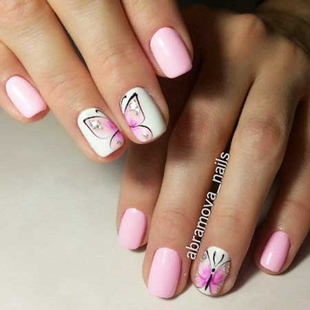 Manicures, Pink Nails, Nail Designs 2017 Summer, Butterfly, Spring, Summer
