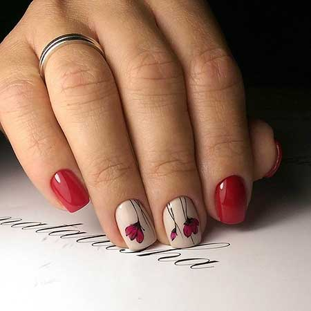 Manicures, Valentine, Valentine, Nail Design With Tulips, Simple, Art