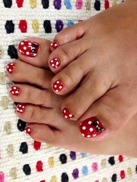 Toe Nail, Disney Nail, Minnie Mouse, Polka Dots, Dots, Minnie