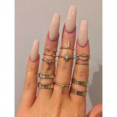 Matte Nail, Nail Ring, Coffin Nails, Knuckle Rings, Top, Nail