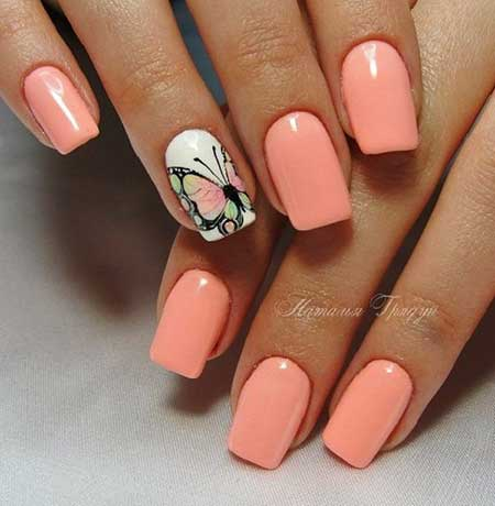 Nail Art Designs, Manicures, Pastel Nail, Nail Art Summer 2017, Butterfly, Peach