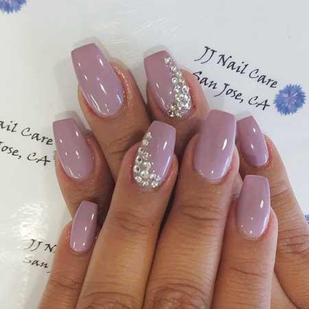 Pink, Coffin Nails, Pretty Nail, Nail Designs With Rhinestones, Short