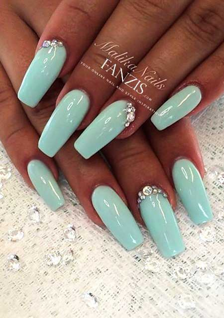 Coffin Nails, Stiletto Nails, Acrylic Nails, Blue Nails, Turquoise Square Nails