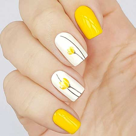 Summer Nails, Yellow, Yellow Nails, Bright Summer Manicure 2017