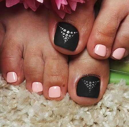 Toeail, Pink and Black Toeail Designs, Toe, Art