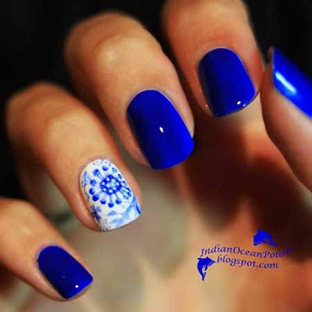 Blue Nails, Blue, Polish, Glitter, Blue Nail Decoration, Little, Love, Flowers