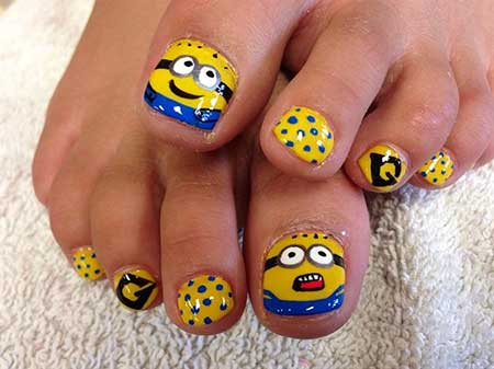 Minion Nails, Nails, Minions, Spongebob Nail, Despicable Me, Spongebob