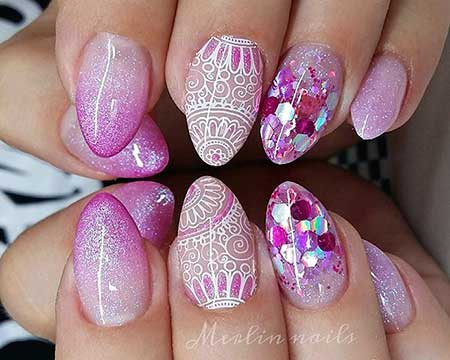 Pink, Glitter, Pink Nails, Nail