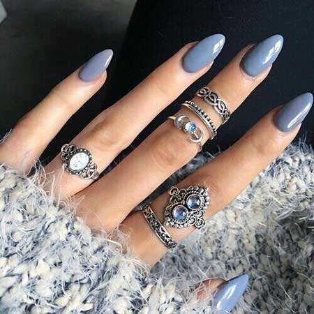 Nail Ring, Stiletto Nails, Blue Outfit, Pretty Nail, Pointy Nails, Almond Nails, Long