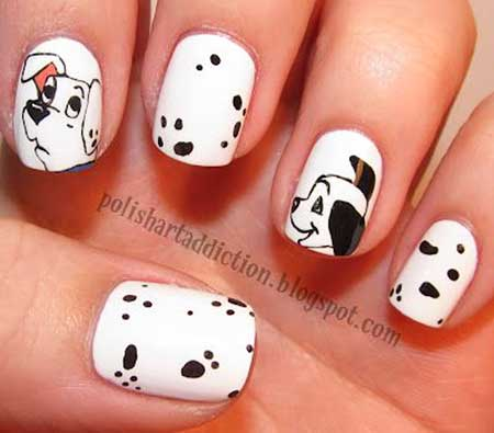 dog nail designs, dog nail art designs, dog print nail designs